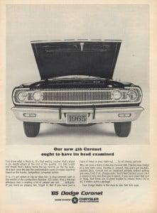 1965ad_dodge_coronet_hood_open_bw_1965