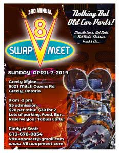Annual V8 Swap Meet annulé @ Greely Legion